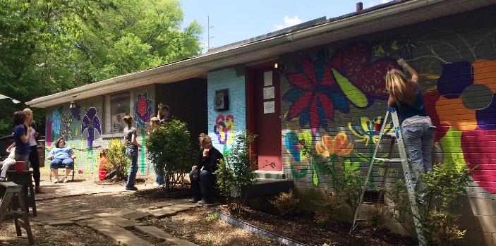 mending hearts beth inglish team mica fund mural nashville art artist paint ppg porter paints community foundation flower west nashville